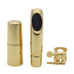 Professional-Alto-Sax-Saxophone-Mouthpiece-8-Metal-with-Cap-Ligature-Gold