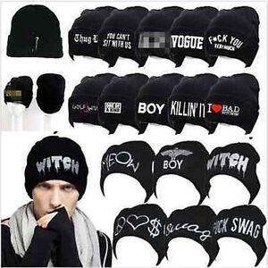 Unisex-Women-039-s-Men-039-s-Hat-Unisex-Warm-Winter-Knit-Cap-Hip-hop-Beanie-Hats-Black