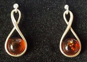 Sterling-silver-amp-amber-vintage-Art-Deco-antique-pair-of-earrings