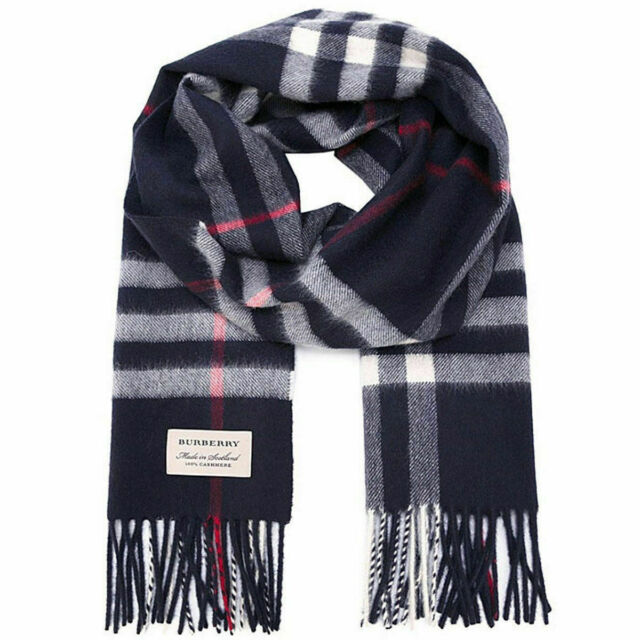 36f262349a 100% Authentic Burberry The Classic Cashmere Scarf in Check, Blue/Navy/Red