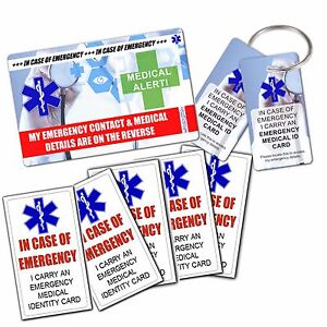 Medical Alert Id Pack Wallet Card 3 Key Fobs Emergency Ice Sticker
