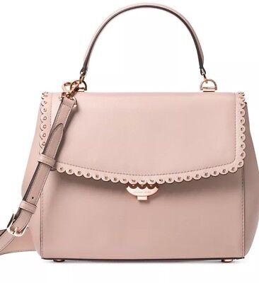 New michael kors ava top handle satchel bag leather soft pink scalloped trim bag | eBay