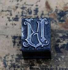 KU  UK Monogramm Bleisatz Druckstock Klischee Stempel Buchstabe Initiale Vintage