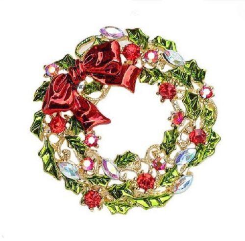 Tono Oro Rojo Verde Arco Garland Diamante Estrás Cristal Navidad broche pin