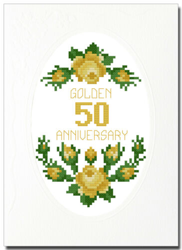 "50 8/"" x 6/"" GOLDEN 20.2cm x 15cm Rose ANNIVERSARIO Cross Stitch CARD KIT"