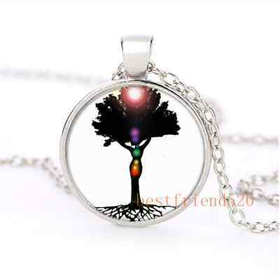 Chakra Tree of Life Cabochon Glass Silver Plating Necklace Jewelry
