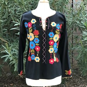 5f30608658637 Image is loading Size-M-Mexican-blouse-from-Chiapas-Mexico-Hand-