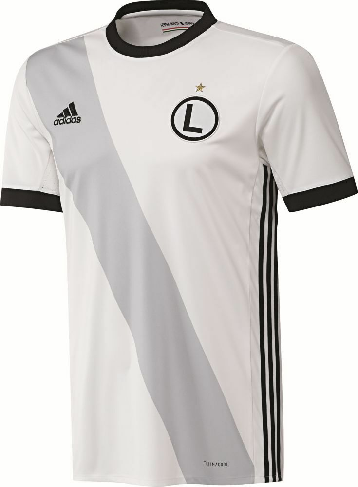 Adidas Herren Fußball Legia Warschau Home Trikot 2017 2018 weiß schwarz grau