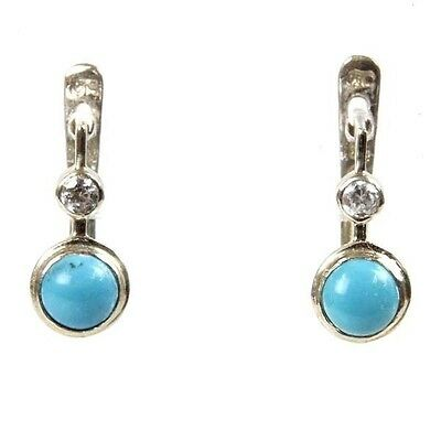 New Pair of 14k White Gold Turquoise CZ Earrings