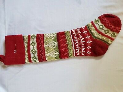 New Pottery Barn Monogram Molly Quot Red Fair Isle Knit