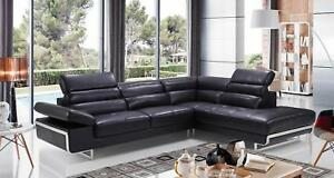 Details about ESF 2347 Sectional Sofa in Black Italian Leather Right Side  Facing