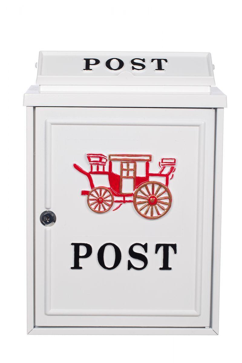 Briefkasten Wandbriefkasten  Nostalgischer Englischer Postkasten PT 26 Weiß