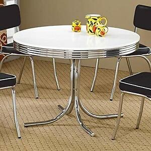 Superbe Coaster Retro Round Dining Kitchen Table In Chrome / White