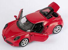 BLITZ VERSAND Alfa Romeo 4C 2013  rot / red 1:24 Welly Modell Auto NEU & OVP