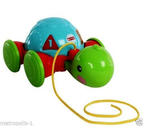 FISHER PRICE,PULL-ALONG TURTLE,W// NUMBERS,SHAPES,/& COLORS,AGES 12-36 MONTHS,NEW