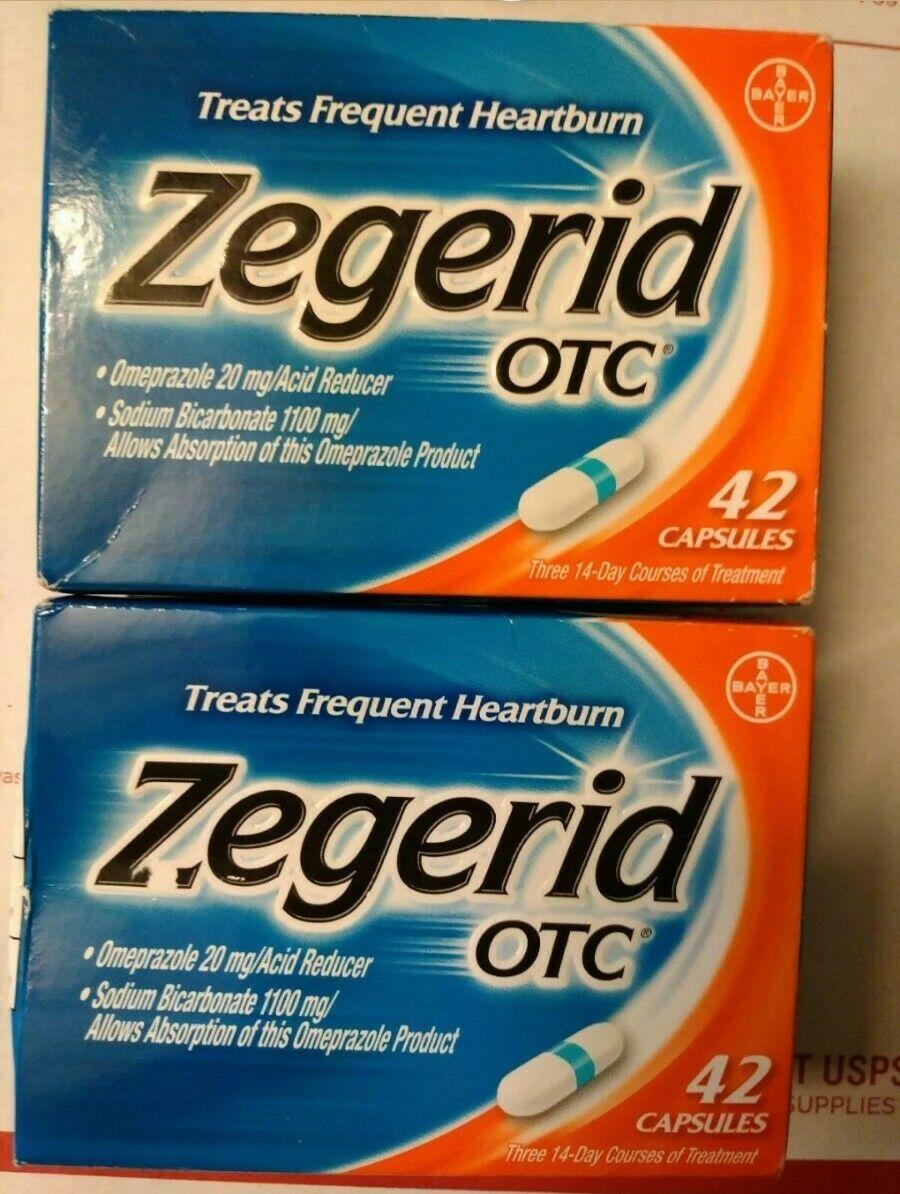 84 Capsules - Zegerid OTC Heartburn Relief 2 x 42 = 84 Capsules exp. 2021 2