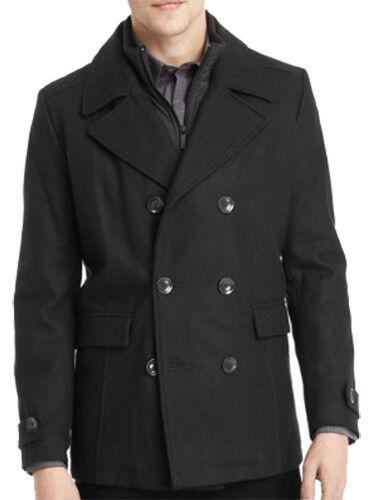 NWT【XL】【】NEW Kenneth Cole NY Men's Double Breasted Peacoat Coat w  Bib LAST
