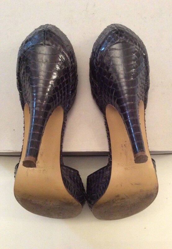 FRENCH CONNECTION schwarz SNAKESKIN PEEPTOE HEELS Größe 6 6 6 39 bfcac6