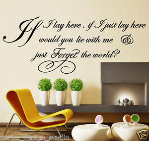WALL-QUOTES-IF-I-LAY-HERE-SNOW-PATROL-Lyric-Wall-Decal-Stickers-WALL-ART-N37