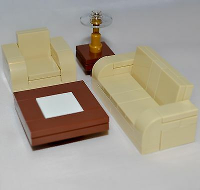 LEGO Furniture: Tan Seating Set Collection - Couch, Chair, Tables + Instructions