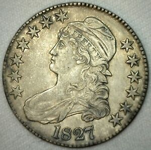 1827-Capped-Bust-Silver-Half-Dollar-Coin-Lettered-Edge-Square-Base-2-Variety-AU
