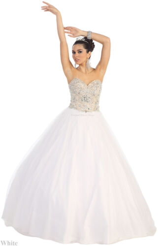 SALE NEW LONG DESTINATION WEDDING DRESS SWEETHEART BRIDAL BRIDE BALL GOWN WHITE