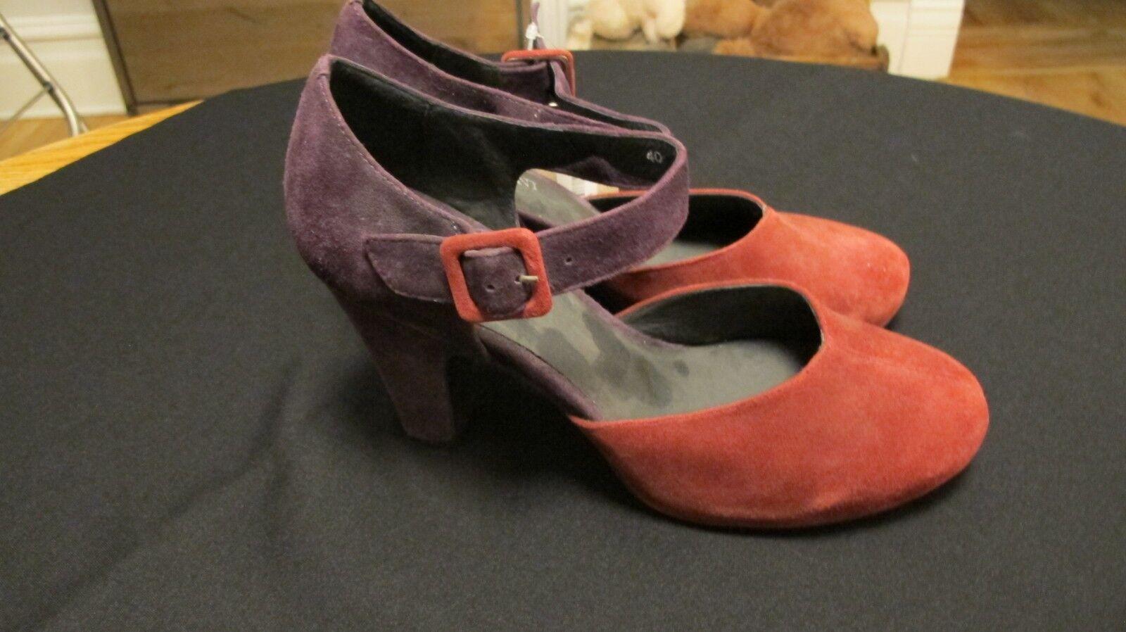 Cordani rojo y púrpura púrpura púrpura ante y totalmente forrado 3 3 4  talón Maryjane zapatos talla 10 40  muchas sorpresas