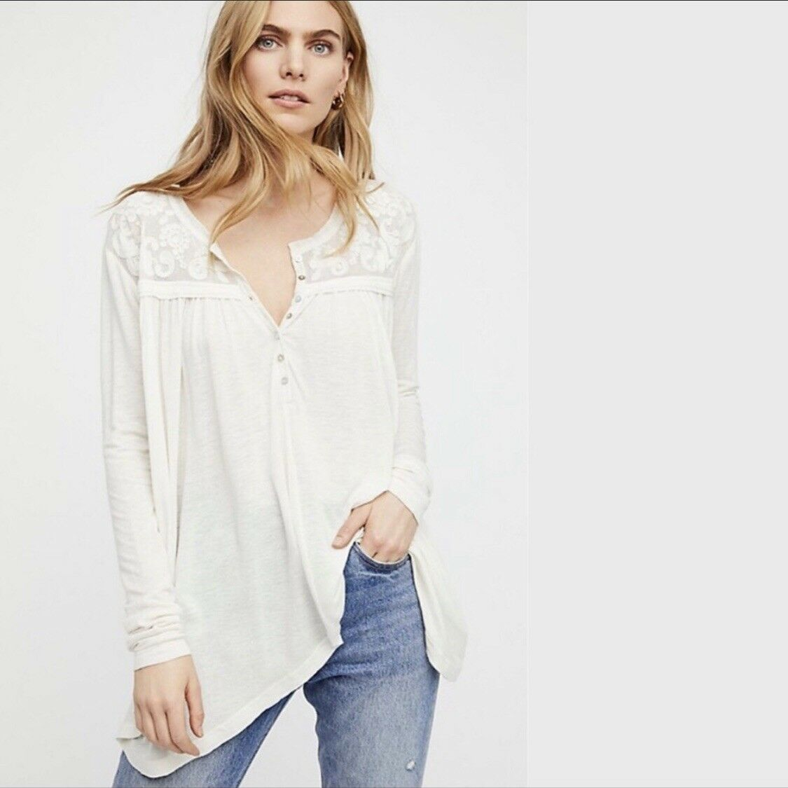 NWT FREE PEOPLE To The Sea Long Sleeve Tee Henley Top Ivory  OB769724 New