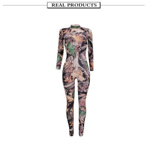 Women O-Neck Long Sleeve Printing Skinny Bodycon Night Club Party Jumpsuit #Q21