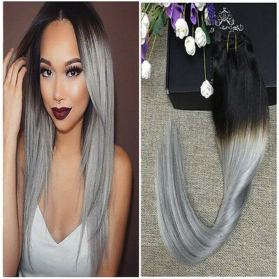 THICK DIP DYE 1B/GRAY BALAYAGE OMBRE CLIP IN REMY HUMAN HAIR EXTENSIONS GREY