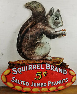 Squirrel-Brand-5-Salted-Jumbo-Peanuts-Cambridge-MA-Massachusetts-Metal-Adv-Sign