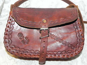 Image is loading Vintage-Brown-Leather-Tooled-Purse-Mexico-Aztec-Handbag- 58fc01cb6c17d