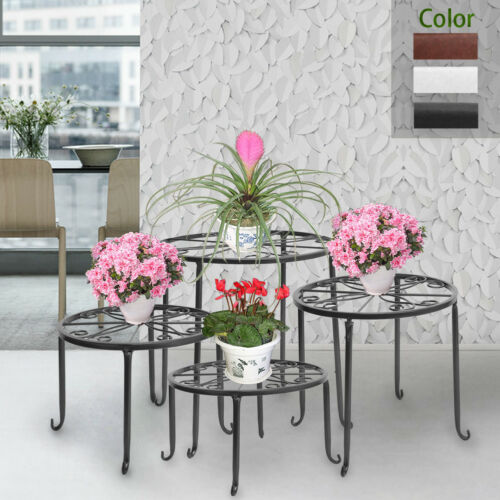 4Pcs Pot Plant Stand Flower Rack Wrought Iron Black Floor-Standing Indoor Garden