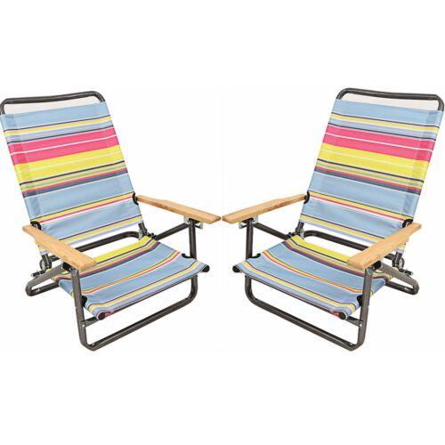 1-Pair Outdoor Garden Patio Sport Hiking Camping Beach Chair Folding Arm Chairs