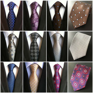 Men-s-Checks-Dots-Geometric-Tie-JACQUARD-WOVEN-Necktie-Wedding-Party-Ties-HZ203