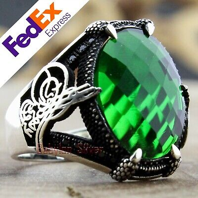 925 Sterling Silver Faceted Emerald Turkish Handmade Men/'s Luxury Ring All Sizes