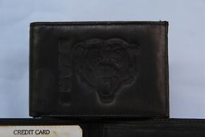d897e750b384f6 Image is loading CHICAGO-BEARS-Leather-BiFold-Wallet-NEW-black-2-