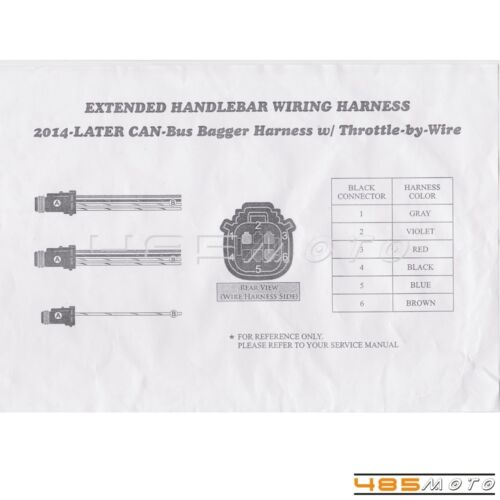 """Black 16/"""" Hanger Handlebar Extension Wiring Harness Kit For Harley FLHT//FLHR New"""