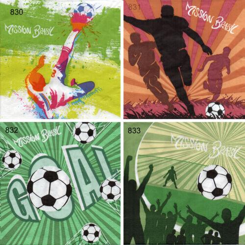 4 Motif Serviettes serviettntechnik Serviettes des nappes tovaglioli thème football