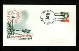 US-Postal-History-Christmas-Town-Cancel-Horse-Sleigh-1962-Putney-VT-Santas-Land