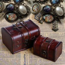 2X Set Vintage Wooden Pirate Jewellery Storage Box Case Holder Treasure Chest