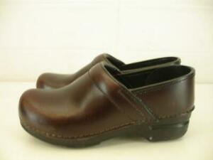 Womens-7-5-8-sz-38-Dansko-Leather-Professional-Clogs-Shoes-Brown-Stapled-Slip-On