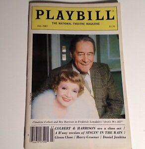 Playbill-Aren-039-t-We-All-1985-Claudette-Colbert-Rex-Harrison-NYC-Broadway-Theater