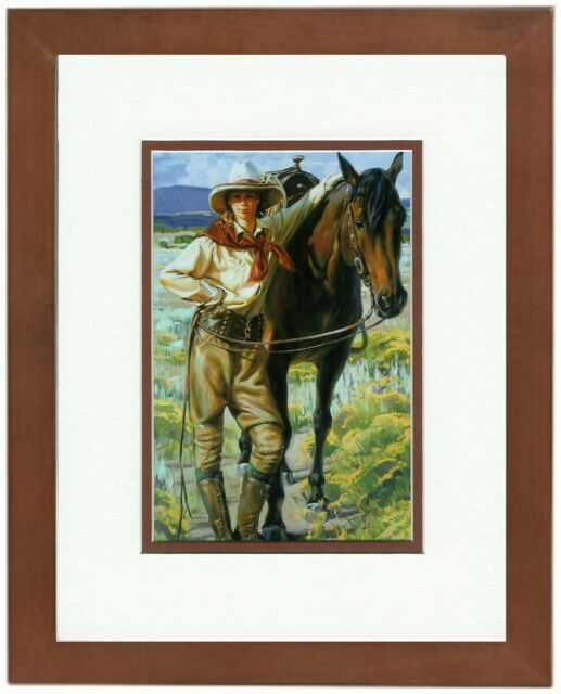 Pals Terri Kelly Moyers Western Cowgirl & Horse Double Matted & Framed