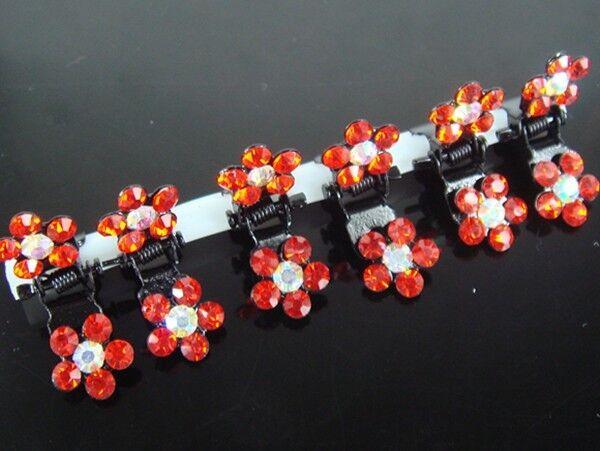 12 Pcs Crystal Flower Mini Hair Claw Clamp Hair Clip Hair Pins Hair Accessory