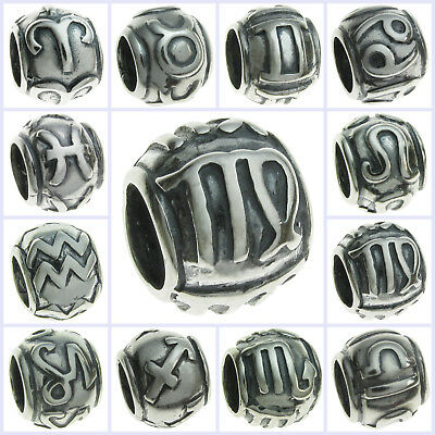 925 Sterling Silver Round Chinese Zodiac Bead for European Charm Bracelets