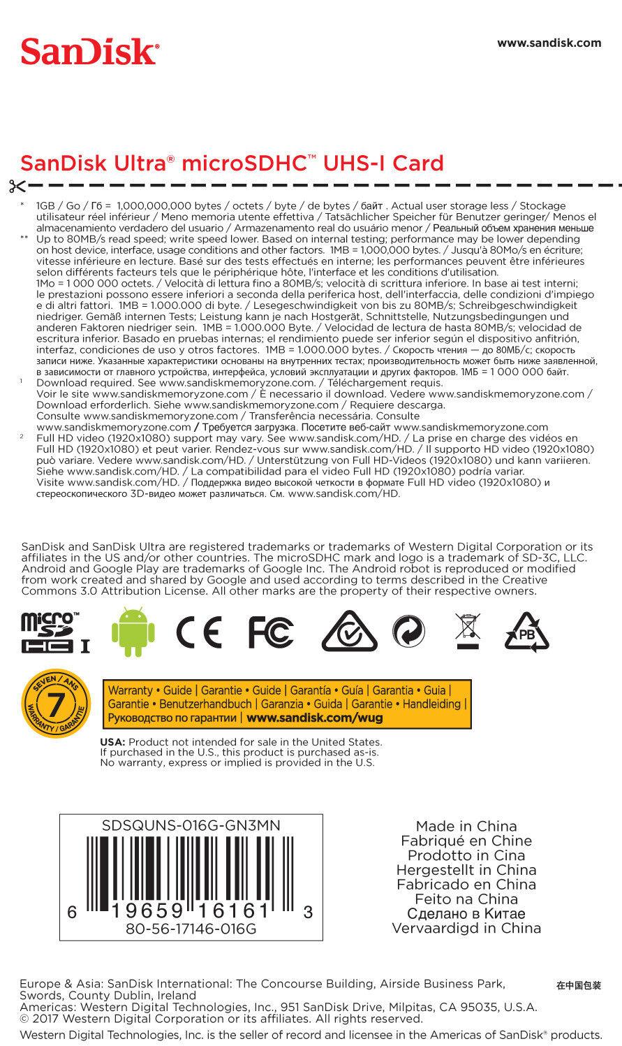 Sandisk 16gb Class 10 Microsdhc Card Sdsqunb 016g Gn3mn Ebay Ultra Microsd 48mbps Stock Photo