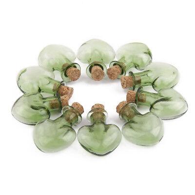 10 Mini Green Heart Shape Cork Stopper Glass Vials Jars Wish Message Bottles