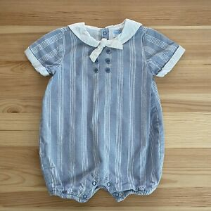 JANIE-AND-JACK-Sailor-Jack-Blue-Striped-Romper-Outfit-Size-3-6-Months