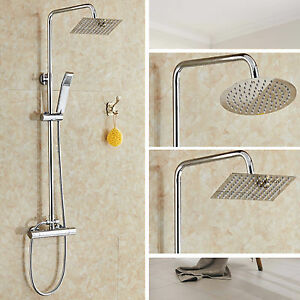 BATHROOM-MIXER-SHOWER-SET-TWIN-HEAD-ROUND-SQUARE-CHROME-THERMOSTATIC-VALVE